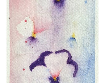 Original watercolors of flowers, thoughts, pink purple blue paint, painting abstract flowers