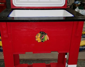 Blackhawks Wood Cooler (local pick up only)