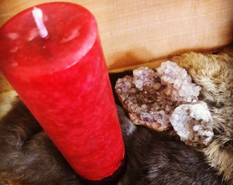 Lust and Love Attracting Spell Candle - Tall Red Candle - Love Spell Attraction Spell - Artisan Made Ritual Altar Wicca Spell Pillar Candle