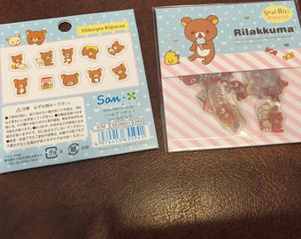 One packet of 80 brand new cute Rilakkuma Bear sticker flakes  for scrapbooks, planners or journals Kawaii Japan San-X