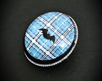 Punk Bat Brooch, Bat Brooch, Bat Jewelry, Glass Brooch, Metal Brooch, Gothic Brooch, Tartan Brooch, Blue Brooch, Punk Jewelry, Silver Brooch