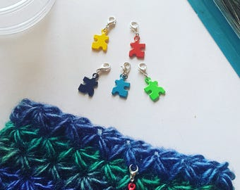 Puzzle stitch markers/ Autism Awareness stitch markers