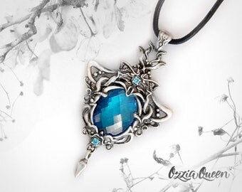 925 Sterling silver pendant necklace, gemstone necklace, fantasy jewelry, gifts for women, artisan silver jewelry, silver crystal necklace