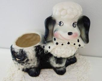 Vintage 1960's Ceramic Poodle Planter / Flower Pot, Plant Holder /  USA Pottery