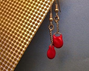 Red Capacitor Twist Earrings