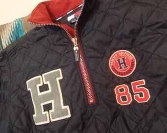 Vintage Tommy Hilfiger zip neck quilted varsity jacket size XL
