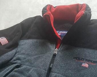 Vintage M Polo Sport Usa flag stadium polartec fleece jacket size M