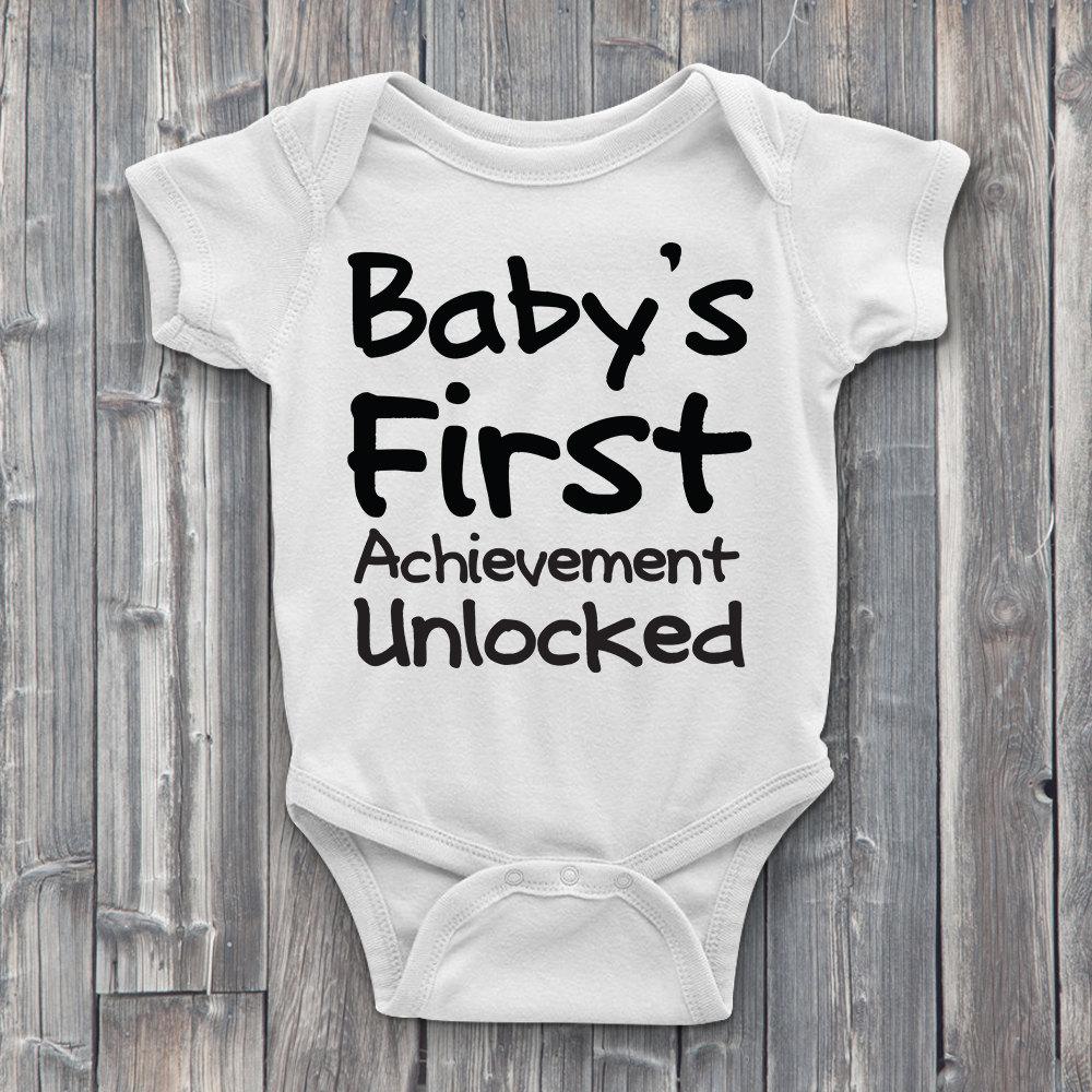 Baby's first achievement unlocked, gamer onesies, onsies, baby's first, baby  onesie, baby shower gifts