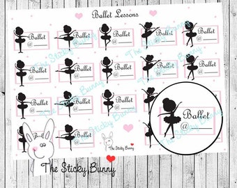 Ballet Lessons - Planner Stickers for Erin Condren, Happy Planner, Kikkik, Filofax (S028)