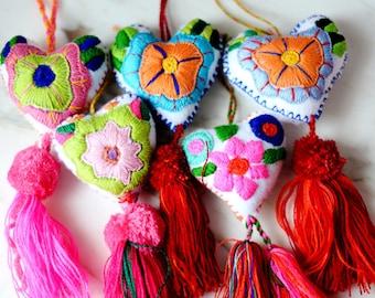 Mexican Heart Ornament Felt Heart Handmade Flower Embroidered Colorful Decoration Holiday Ornament Mexico Fair Trade Artisan Oaxaca Chiapas