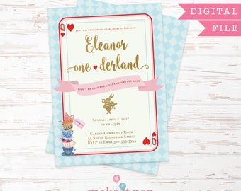 Alice in Onederland Invitation, Downloadable PDF, Mad Tea Party Invitation, First Birthday Invitation, Alice in Wonderland Invitation