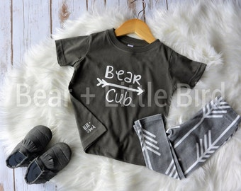 Bear Cub Arrow shirt for infant or toddler grey and white or custom colors availble - Boys or Girls