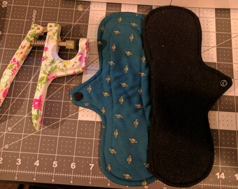 Green and gold planet cotton topped mama cloth, RUMP, fleece backed cloth pad