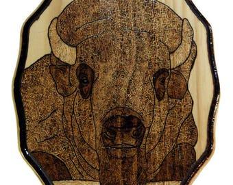 Woodburned Bison Design Plaque