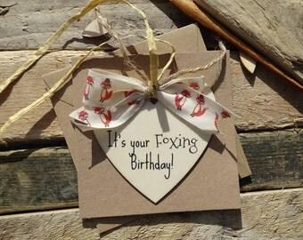 Funny birthday card, Fox birthday heart wood plaque handmade card, birthday cards for him or her friend cards, handcrafted cards for her/him