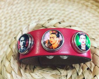 Frida Kahlo bracelet /Famous artist jewellery/ Frida cuff bracelet /artist gift /adjustable fit red leather cool idea/ art lovers/ art icon