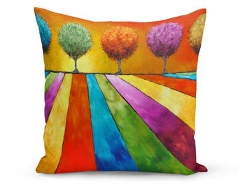 Pillow Cover, Tree Pillow Cover, Abstract Tree Pillow Cover, Original Art Throw Pillow, Tree Painting, Art Pillow Cover, Modern Pillow Cover