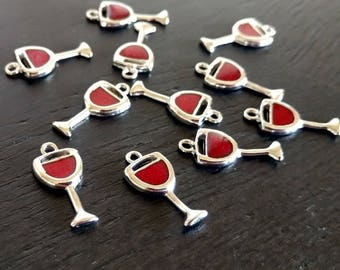 2 Wine Charms | Red Wine | Wine Glass Markers | Wine Glass Charms | Got Wine | Wine Lover | Bulk Charms | Ready to Ship USA | EN423-2