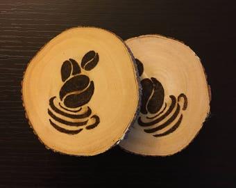 Personalized coaster (set of 2) / wood burned coaster / rustic coaster