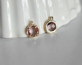 Purple Crystal 24 k gold round pendant