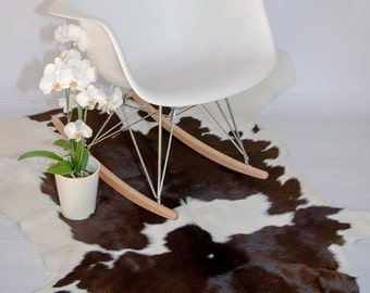 Luxury cowhide rug. Cowhide rug. Large Brown and White cow skin. 100% Natural Cowhide Leather Rug. Shiny cowhide rug.