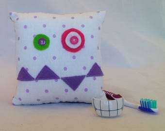 Monster Tooth Fairy Pillow - lavender dots, purple teeth, purple back