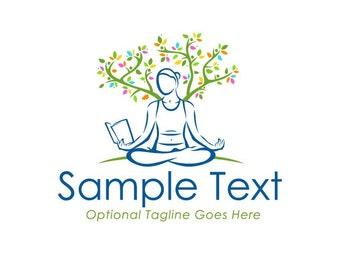 Yoga Logo, Premade Logo, Reading Logo, Zen Logo, Logo, Custom Logo Design