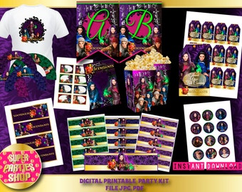 Descendants Printable Party kit, instant, Pack Party, Custom Party, Descendants,Birthday