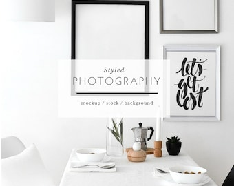 Styled Frame Mockup - Artwork wall, Print mock up, Stock Photography