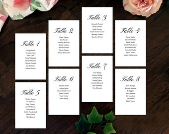 Simple Elegance Printable Wedding Table Numbers
