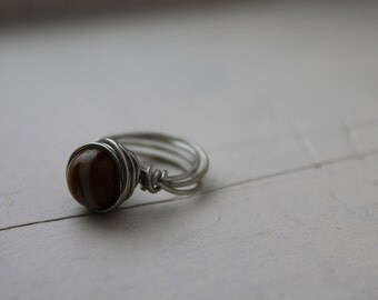 Amber Wire Wrapped Ring