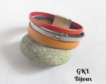 Bracelet cuff leather - Orange, camel