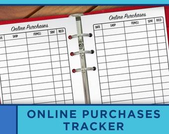 Online Purchases Tracker Printable Checklist Personal Planner Inserts - Erin Condren Filofax, Kikki K, Midori - P009