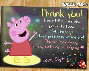 Peppa pig thank you card, Peppa pig Invitation, Peppa pig Birthday Invitation, Peppa Pig Party, Peppa pig Party Invitations