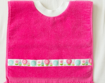 Personalized, Spring Flowers  Baby or Toddler Towel Bib, Handmade Girl Baby Shower Gift, Pullover Full Coverage Bib, Toddler Art Smock