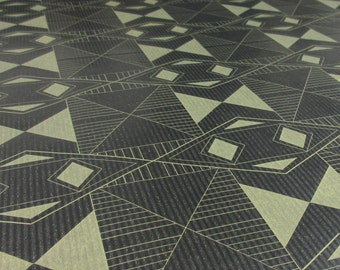 Art Deco style geometric screen printed wrapping paper sheets, 50 x 70cm, antique gold on black