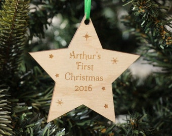 Personalised Baby's First Christmas Decoration, Wooden Baby's First Christmas Tree Decoration, Baby's First Christmas, Wooden decoration