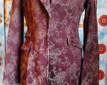 Spring coat, Coat chocolate color, Unique coat, Relief brown coat, 3D print, Coat floral motifs