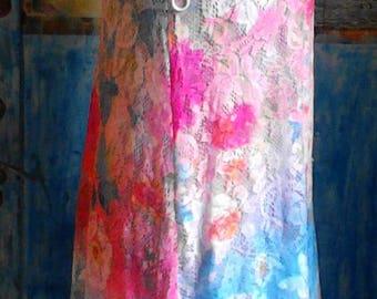 Multi-colored lace dress, Dress multicolored lace, Sheer lace dress, Colorful dress of lace