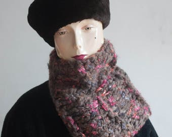 Cozy Grey Wool Cowl with Colorful Pink Ribbon, Cowl Hood, Snood