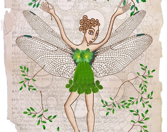 Fairy art, fantasy wall art, fairy tale art, art collage, dragonfly art, downloadable art, digital print, fantasy digital print