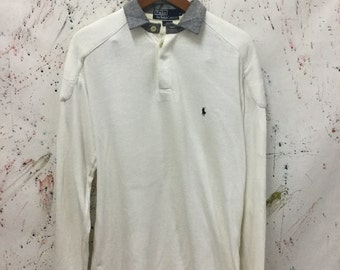 Vintage 90s Polo Ralph Lauren Rugby Shirt Size M