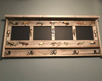 Rustic Fishing Frame, Fish Frame, Gift for Fisherman, Rustic Lure Frame, Folk Art Fish Lure, Reclaimed Wood, Picture Frame, Antique Fish Lur