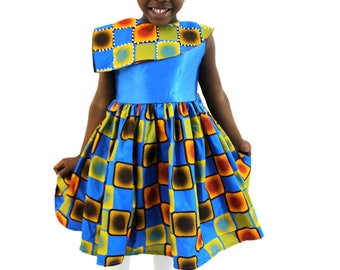 Girls Dresses - African Print Flared Dresses with Feature Cape Children Clothes - Blue