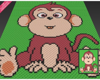 Cute Monkey crochet blanket pattern; c2c, cross stitch; knitting; graph; pdf download; no written counts or row-by-row instructions