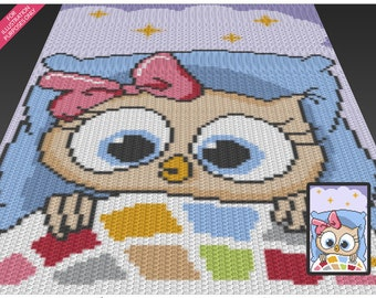 Sleepy Owl crochet blanket pattern; c2c, cross stitch; knitting; graph; pdf download; no written counts or row-by-row instructions
