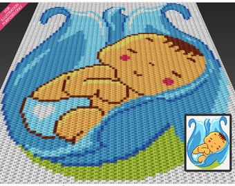 Flower Baby Boy crochet blanket pattern; c2c, cross stitch; knitting; graph; pdf download; no written counts or row-by-row instructions