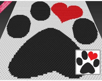 Love Paw crochet blanket pattern; c2c, cross stitch; knitting; graph; pdf download; no written counts or row-by-row instructions