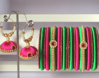 Silk Thread Bangles / Indian Bangles with Jhumka Earrings