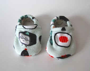 """Flannel """"Sushi"""" Baby Slippers - Fleece Lined - Tread, No Slip Sole Option Available (booties, shoes)"""